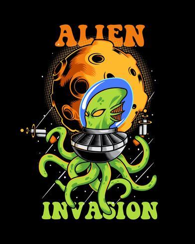 illustrazione di invasione aliena polpo vettore