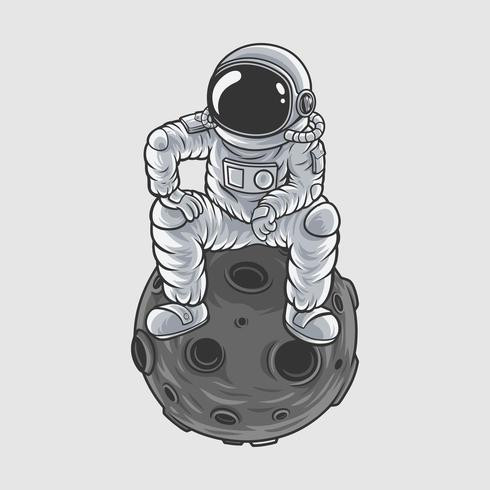 disegno della maglietta di illustrazione vettoriale di astronout