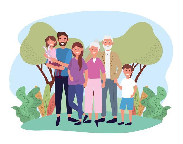 Famiglia carina con nonni e bambini vettore