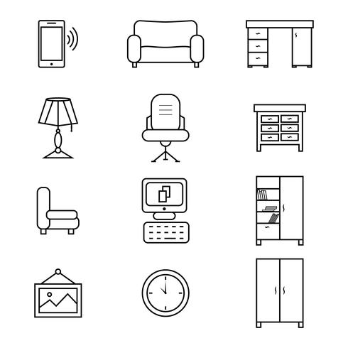 Set di icone mobili piani per l'ufficio vettore