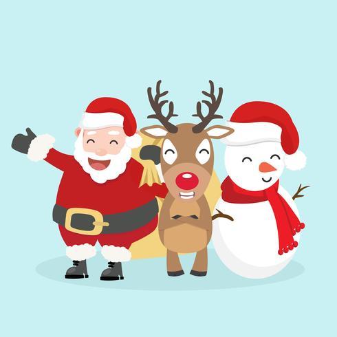 Babbo Natale, pupazzo di neve e renne vettore