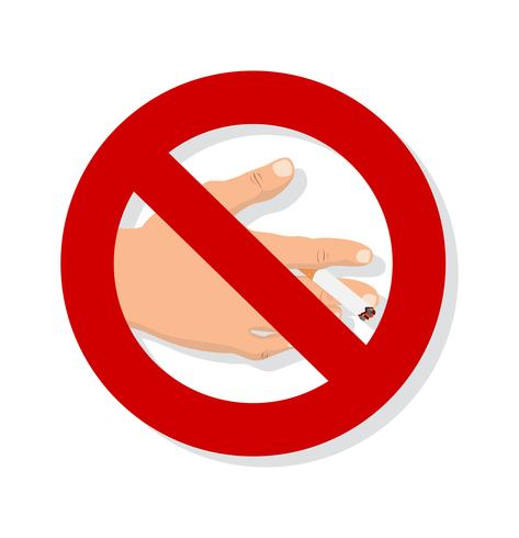 segno non fumatori della sigaretta della mano vettore