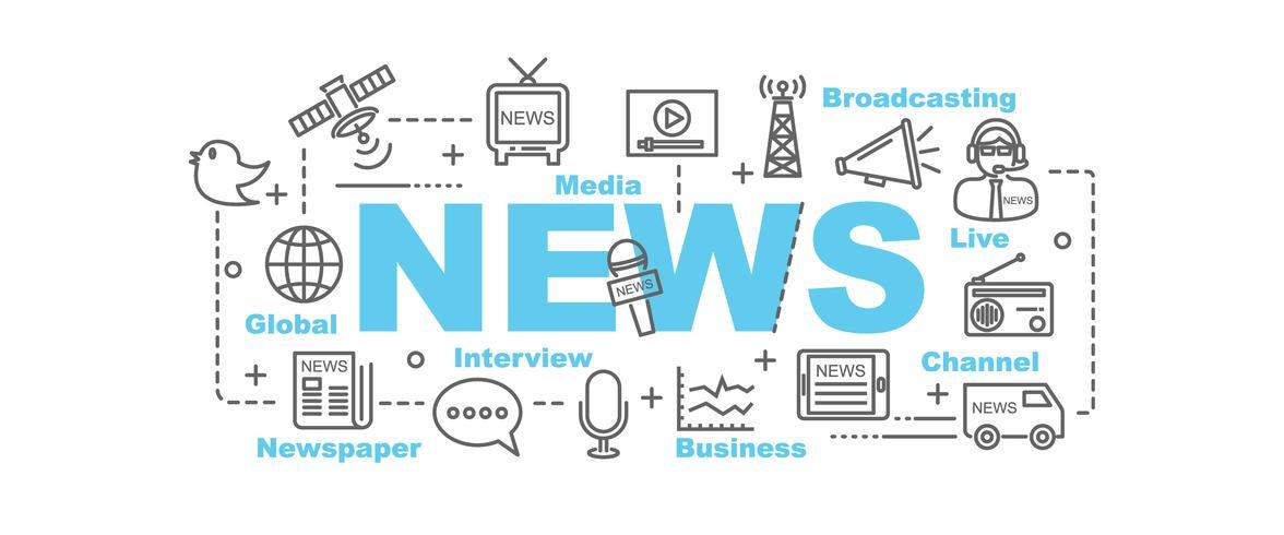 banner di notizie con icone line art vettore
