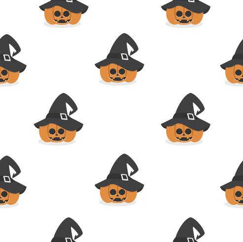 zucca di Halloween che indossa il modello di cappello da strega vettore