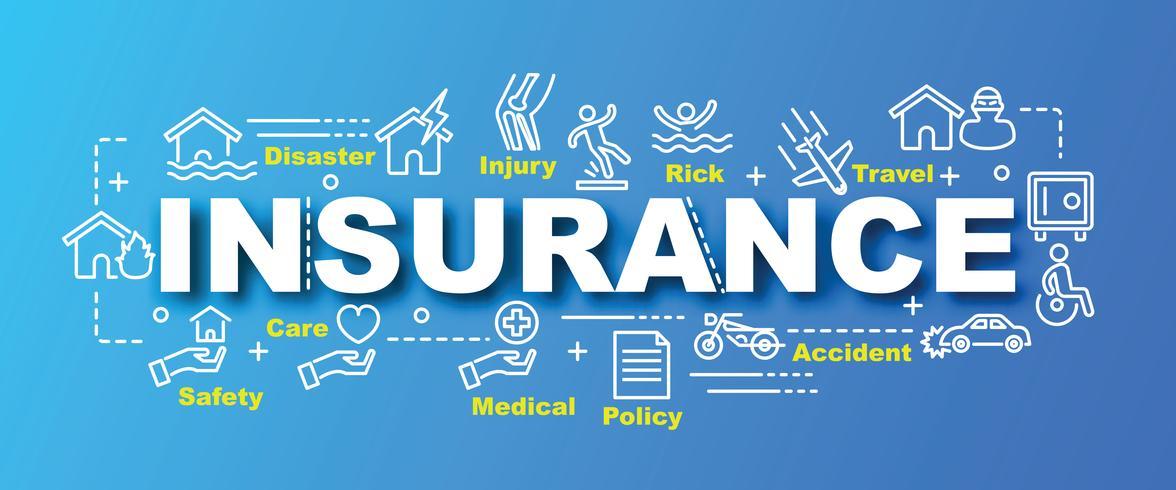 banner di assicurazione con icone line art vettore