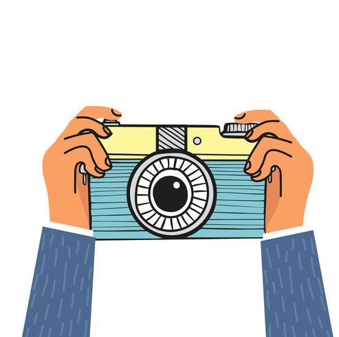 mano che tiene design piatto fotocamera vettore