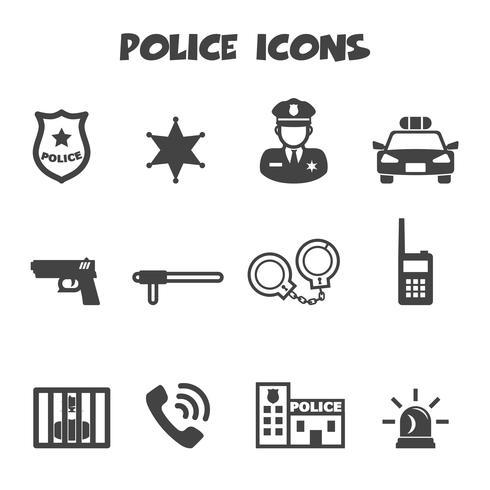 simbolo delle icone di polizia vettore