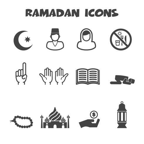 simbolo delle icone di Ramadan vettore