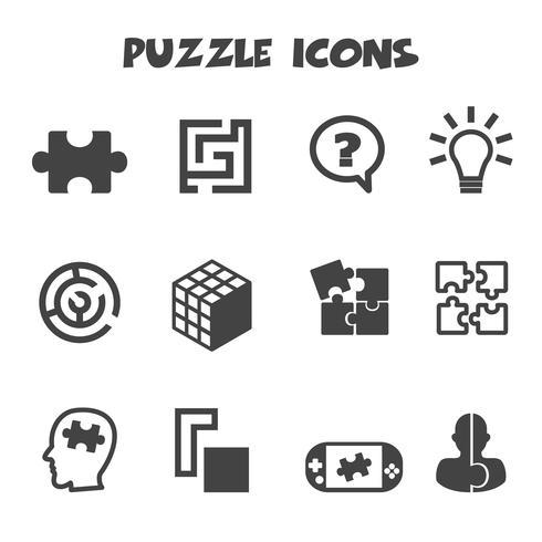 simbolo delle icone di puzzle vettore