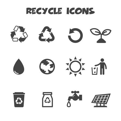 ricicli il simbolo delle icone vettore