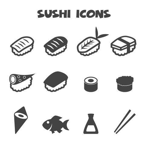 simbolo delle icone di sushi vettore