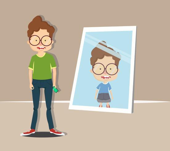 ragazzo guardarsi allo specchio vettore