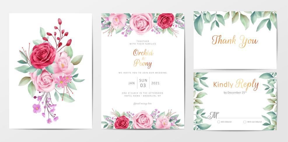 Il modello elegante delle carte dell'invito di nozze floreale ha messo con i fiori vettore