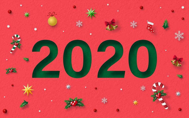 Felice Anno Nuovo 2020 con decorazioni natalizie vettore