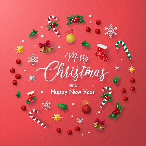 Cartellino rosso della decorazione natalizia in un cerchio vettore