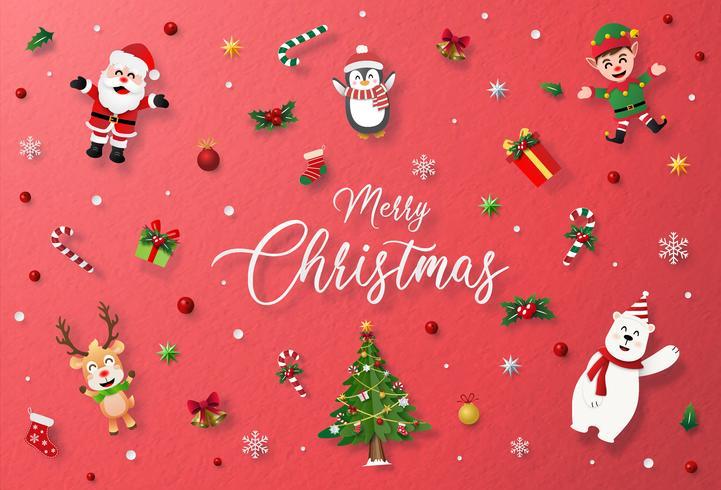 Cartellino rosso con carattere natalizio e decorazioni vettore