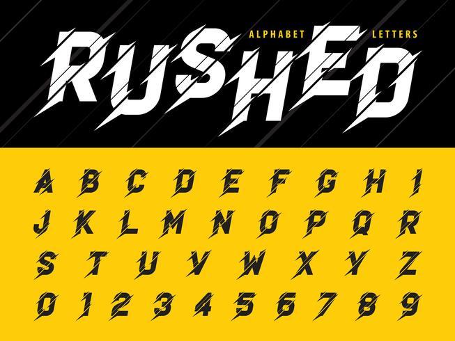 Lettere e numeri dell'alfabeto moderno affettato vettore