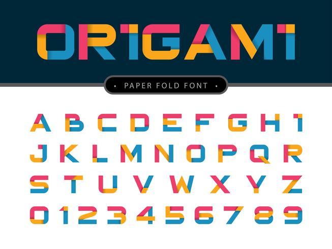 Lettere e numeri dell'alfabeto di carta origami vettore