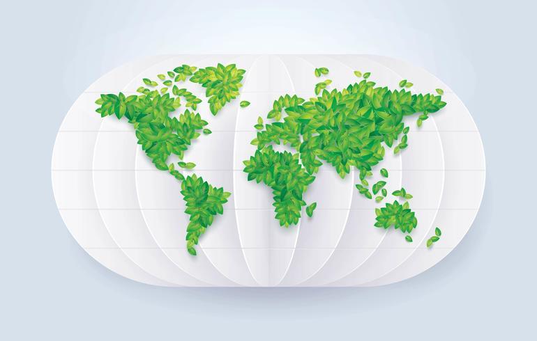Salvare la mappa del mondo di foglie verdi del mondo vettore