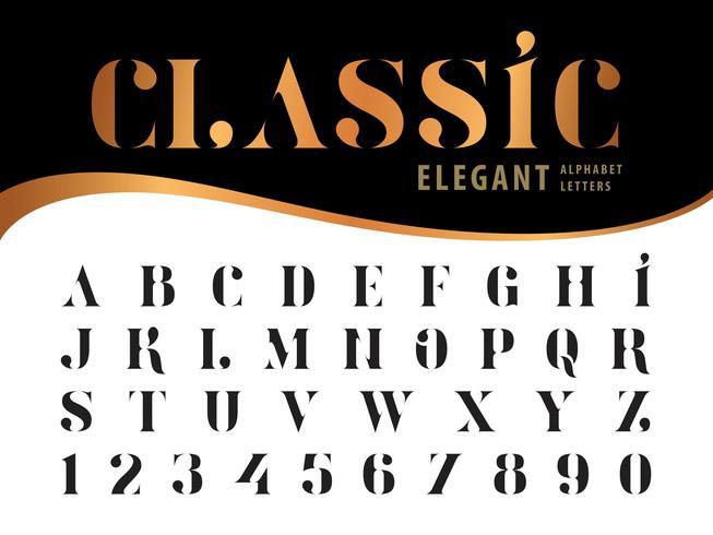 Lettere e numeri classici ed eleganti vettore