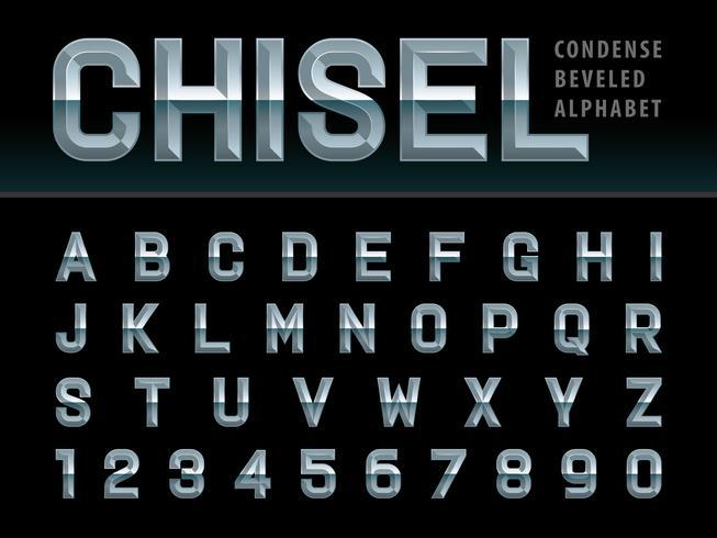Lettere e numeri dell'alfabeto cesellato smussato vettore