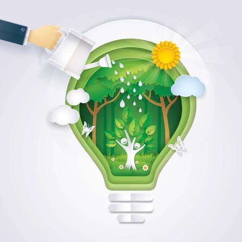 Salvare il mondo, mano dell'uomo d'affari che innaffia l'icona Happy Tree vettore