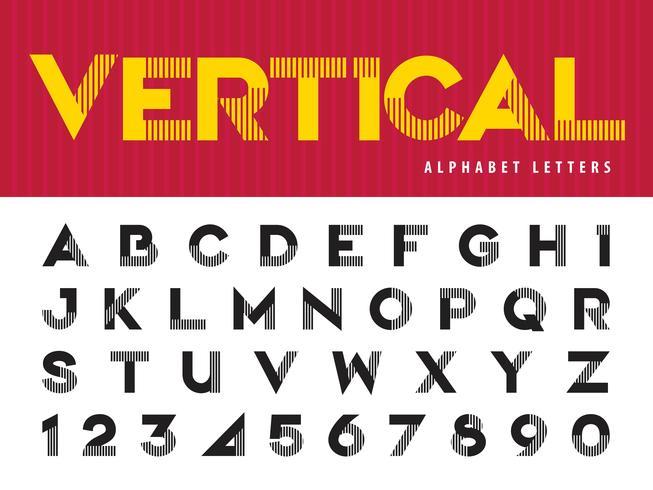 Linee verticali Alfabeto Lettere e numeri vettore