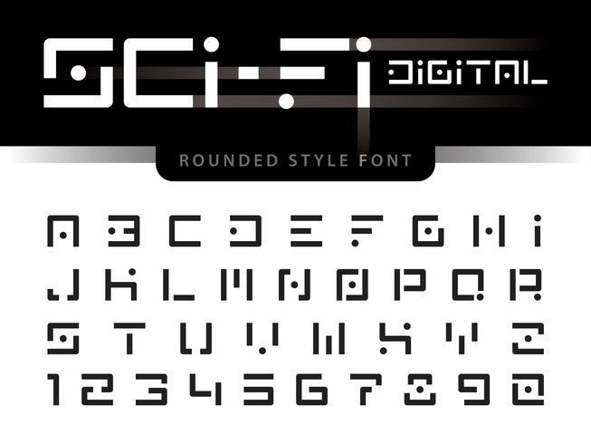 Lettere e numeri dell'alfabeto futuristico digitale vettore