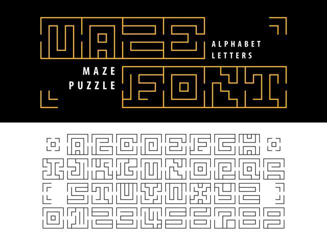 Maze Puzzle Alphabet Lettere e numeri vettore
