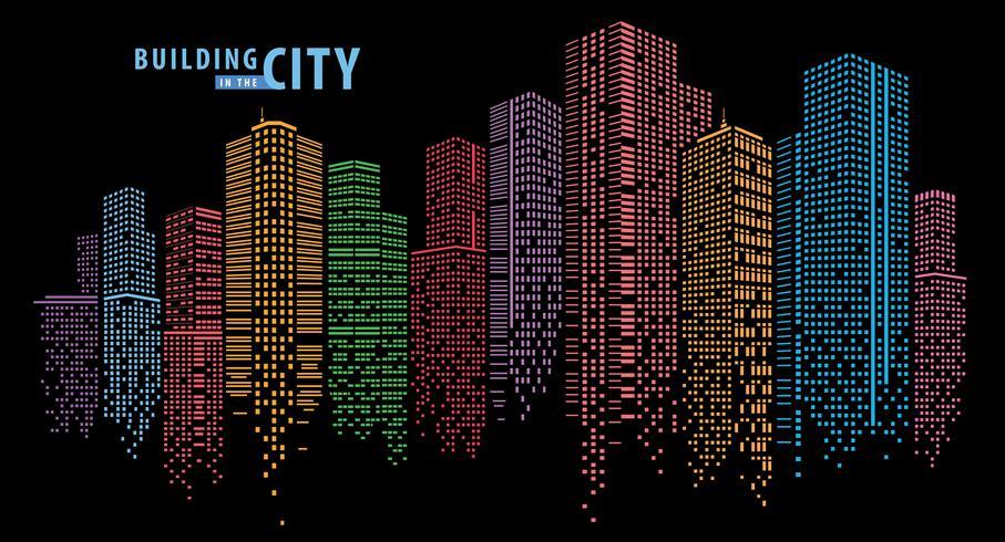 Puntini colorati che compongono uno skyline della città vettore
