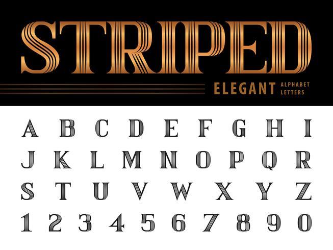 Lettere e numeri di alfabeto elegante a strisce vettore