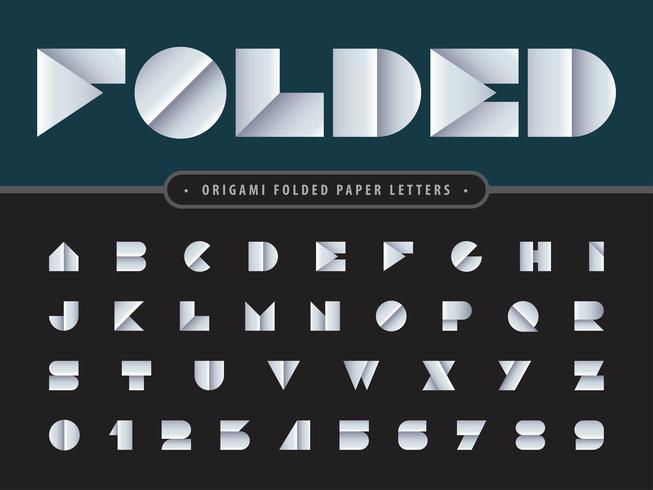 Lettere e numeri dell'alfabeto piegati vettore