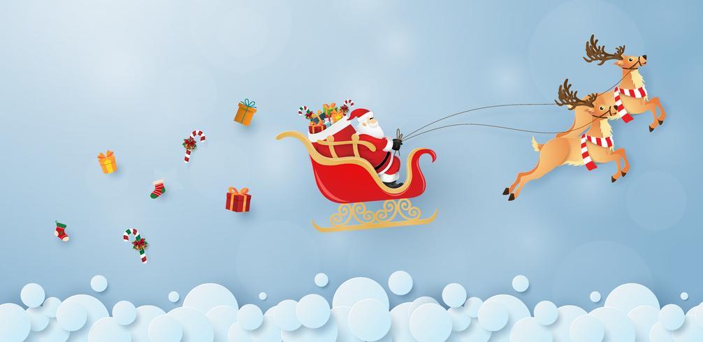 Arte di carta origami di Babbo Natale e renne che volano nel cielo vettore