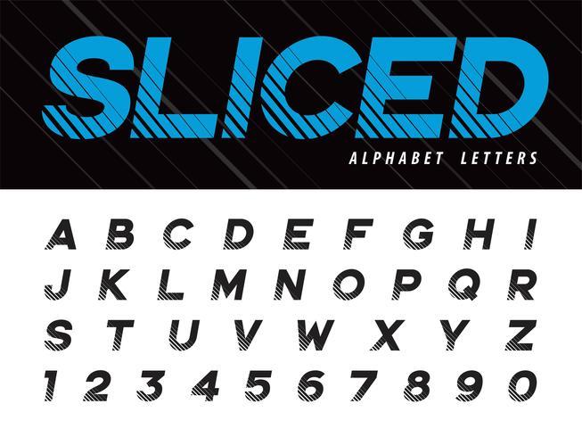 Vettore di Glitch Modern Alphabet Lettere e numeri