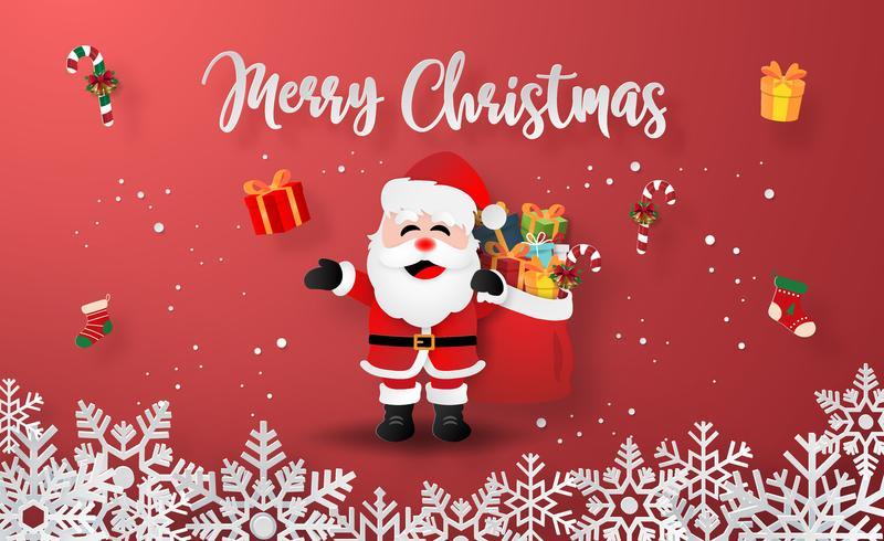 Arte di carta origami di Babbo Natale con regali di Natale vettore