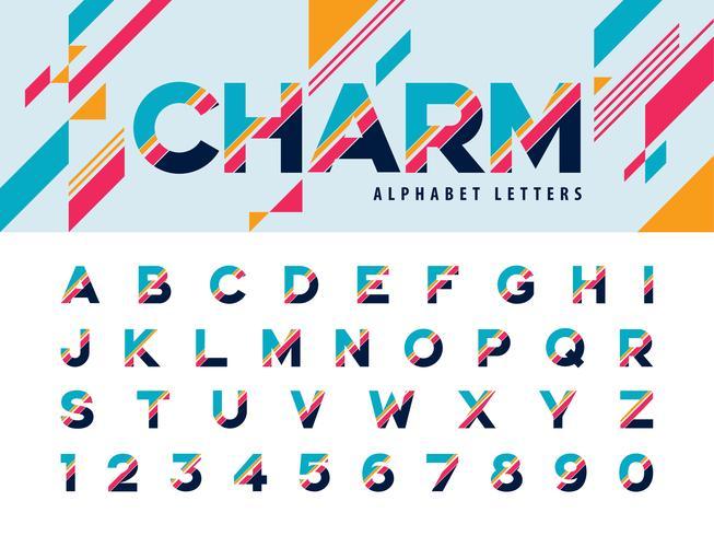 Lettere e numeri dell'alfabeto moderno vettore