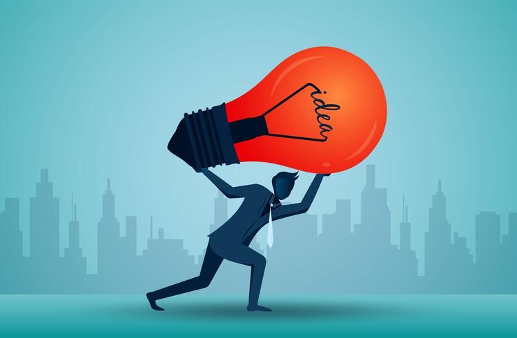 Uomo d'affari che tiene la testa di cui sopra della lampadina rossa di idea vettore