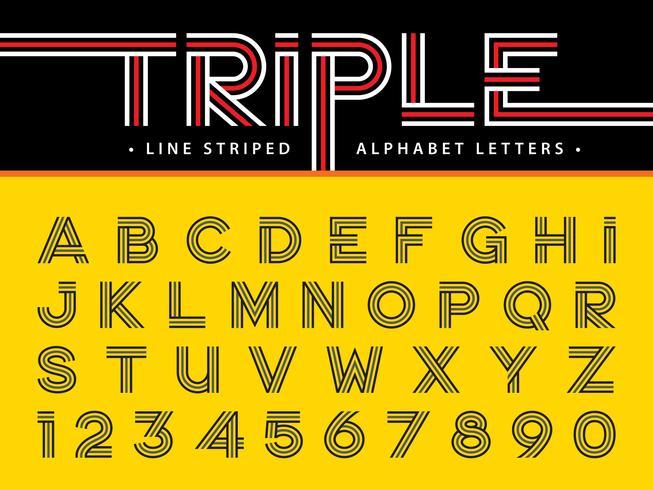Triple Line Alphabet Lettere e numeri vettore