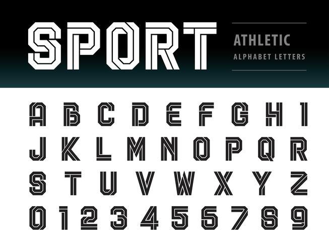 Lettere e numeri dell'alfabeto atletico vettore
