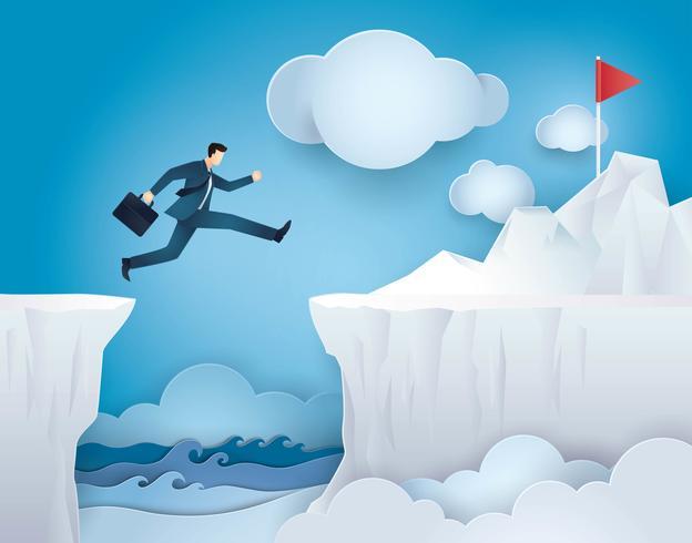 Uomo d'affari Jump over Between Cliff Gap Mountain alla bandiera rossa vettore
