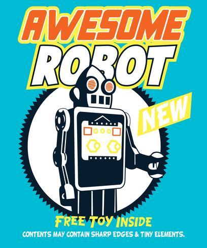 Illustrazione fantastica disegnata a mano del robot vettore