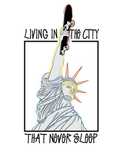 Illustrazione disegnata a mano della statua della libertà vettore