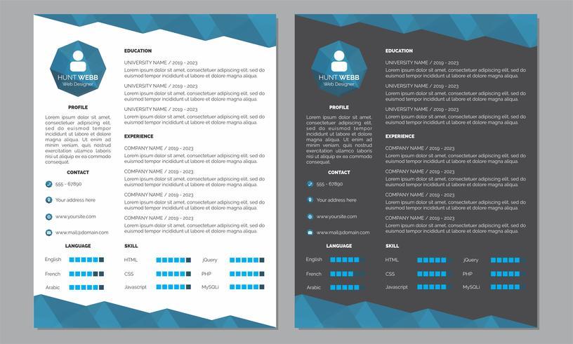 Curriculum Vitae Riprendi Colore Pulito e Blu Scuro vettore