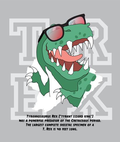Illustrazione disegnata a mano del rex del dinosauro vettore