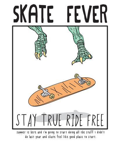 Illustrazione di skateboard disegnata a mano vettore