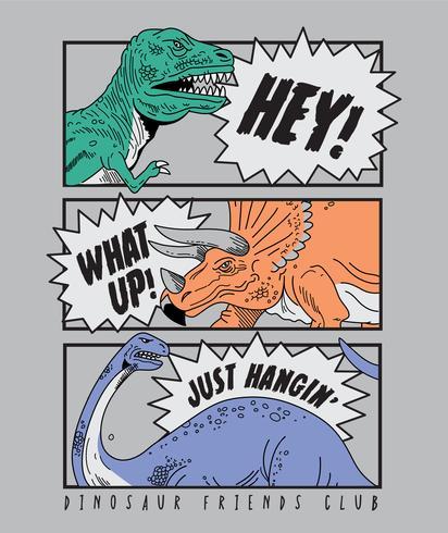 Fumetto disegnato a mano dell'illustrazione del dinosauro vettore
