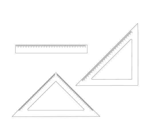 Set di righelli su bianco vettore