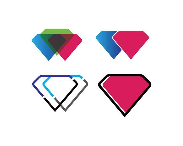 Set di icone di diamanti vettore