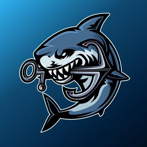 Squalo, logo mascotte vettore