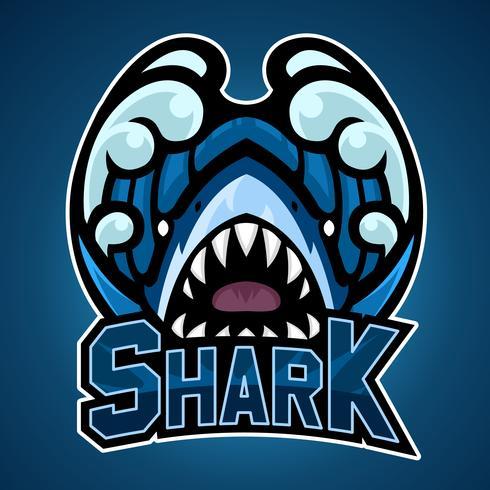 Disegno della mascotte dello squalo vettore